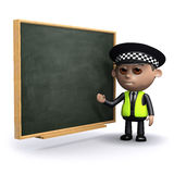 3d Police officer at the chalkboard Royalty Free Stock Photos