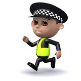 3d Police officer is chasing someone Royalty Free Stock Images