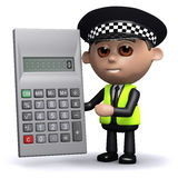 3d Police officer has a calculator Stock Photo
