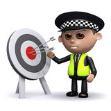 3d Police officer has hit the target. 3d render of a police officer next to a target with arrows in the bullseye Stock Image