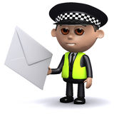 3d Police officer has mail Royalty Free Stock Image