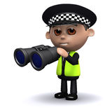 3d Police officer looks through binoculars Stock Photography