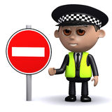 3d Police officer with a no entry sign Stock Image