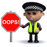 3d Police officer with an Oops road sign Royalty Free Stock Images