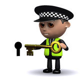 3d Police officer puts the key into the keyhole Royalty Free Stock Images