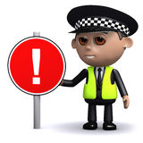 3d Police officer with a road sign, attention!. 3d render of a police officer with a road sign with an exclamation sign Royalty Free Stock Images