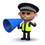 3d Police officer uses a megaphone Royalty Free Stock Photo