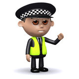 3d Police officer waves hello Royalty Free Stock Photos
