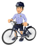 3D Police in shorts with his bike Royalty Free Stock Photo