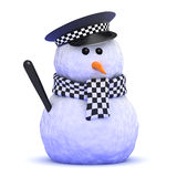 3d Police snowman Stock Photography