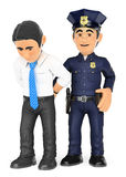 3D Policeman arresting a thief. White collar criminal Royalty Free Stock Photography