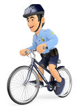 3D Policeman on bicycle Stock Images