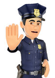 3D Policeman ordered to stop with hand Royalty Free Stock Photos