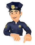 3D Policeman pointing down. Blank space Royalty Free Stock Photos