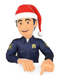 3D Policeman pointing down with a Santa Claus hat. Blank space. 3d christmas people illustration. Policeman pointing down with a Santa Claus hat. Blank space Royalty Free Stock Photography