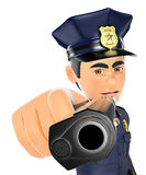 3D Policeman pointing a gun in front Stock Image