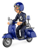 3D Policeman riding a scooter motorcycle Stock Photo