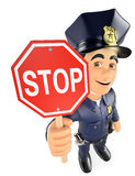 3D Policeman with a stop sign Royalty Free Stock Image