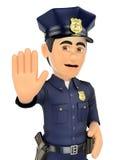 3D policjant rozkazywać zatrzymywać z ręką ilustracji