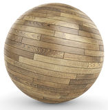 3d polished wooden parquet sphere. On white background 3D illustration Royalty Free Stock Image