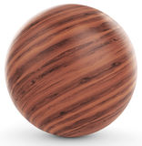 3d polished wooden sphere. On white background 3D illustration Stock Images
