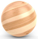 3d polished wooden sphere. On white background 3D illustration Stock Image