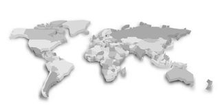 3D political map of World. Vector illustration.  Royalty Free Stock Image