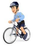 3D Politieagent op fiets Stock Afbeeldingen