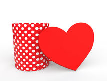 3d polka dots coffee cup and red heart shape Stock Image