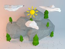 3d poly scene. 3d rendering of low poly stylized trees and rocks. Objects in the spot of soft light. Colorful cartoon geometric elements with realistic shadows Royalty Free Stock Photography
