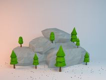 3d poly scene. 3d rendering of low poly stylized trees and rocks. Objects in the spot of soft light. Colorful cartoon geometric elements with realistic shadows Royalty Free Stock Photo