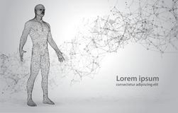 3D Polygona Human on Abstract Space Background with Connecting Dots and Lines. Wire frame human full body in virtual reality. Medical blue print scanned 3D model Stock Photos