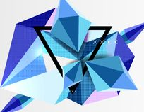 3d polygonal elements abstract background. Textured vector modern template, blue color vector illustration