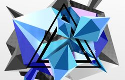 3d polygonal elements abstract background. Textured vector modern template, blue color Royalty Free Stock Images