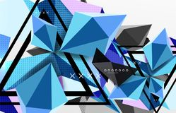 3d polygonal elements abstract background. Textured vector modern template, blue color stock illustration