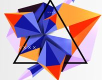 3d polygonal elements abstract background. Textured vector modern template Stock Image