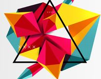 3d polygonal elements abstract background. Textured vector modern template, red and yellow colors Stock Photography
