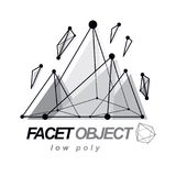 3d polygonal geometric faceted object, vector abstract design el. Ement. New technology logotype vector illustration