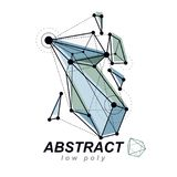 3d polygonal geometric faceted object, vector abstract design el. Ement. New technology logotype Royalty Free Stock Photos