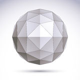 3D polygonal geometric object, vector abstract design element, c Stock Image