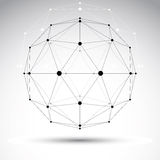3D polygonal geometric wireframe object, vector abstract design Royalty Free Stock Photo