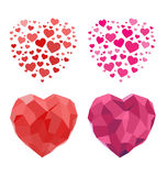2D and Polygonal Heart For Valentines Day. Set of 2D and Polygonal Heart For Valentines Day Stock Photos
