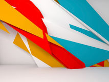 3d polygonal installation in white room. Abstract white interior background, colorful polygonal installation on front wall, 3d illustration stock illustration