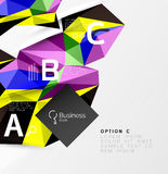 3d polygonal object triangles, abstract background. Vector template background for workflow layout, diagram, number options or web design Stock Images