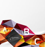 3d polygonal object triangles, abstract background. Vector template background for workflow layout, diagram, number options or web design Stock Image