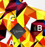 3d polygonal object triangles, abstract background. Vector template background for workflow layout, diagram, number options or web design Royalty Free Stock Photos