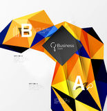 3d polygonal object triangles, abstract background. Vector template background for workflow layout, diagram, number options or web design Stock Photos