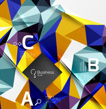 3d polygonal object triangles, abstract background. Vector template background for workflow layout, diagram, number options or web design Royalty Free Stock Images