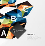 3d polygonal object triangles, abstract background. Vector template background for workflow layout, diagram, number options or web design Royalty Free Stock Photography