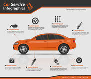 3d Pomarańczowy samochód z auto częściami Fotografia Stock